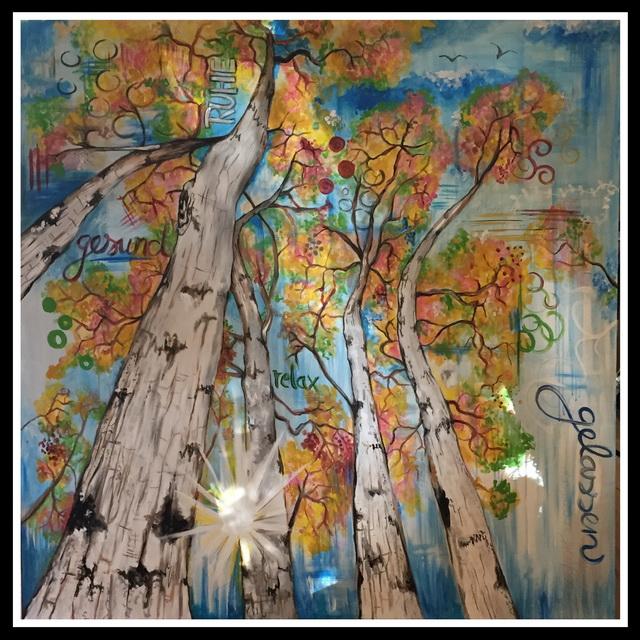 Acrylgemälde Birkenwald, Janine Moses